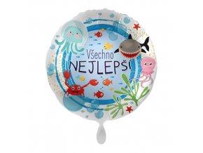 Foliový balonek Všechno nejlepší CZ - Moře 43cm