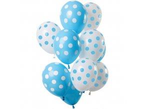 Latexové balonky Dots blue-white 30 cm - 12 ks