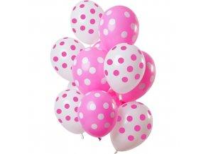 Latexové balonky Dots pink-white 30 cm - 12 ks