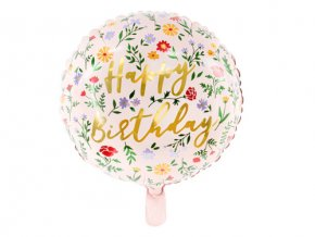 Foliový balonek růžový květinový Happy Birthday 35 cm