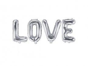 Foliový nápis LOVE ve stříbrné barvě 140 x 35 cm