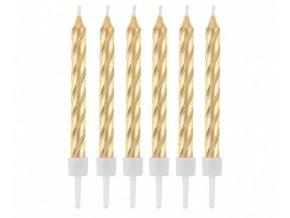 Dortové svíčky zlaté perleťové - 12 ks