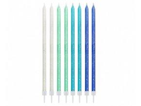 Dortové svíčky modrý mix se třpytkami 24 ks