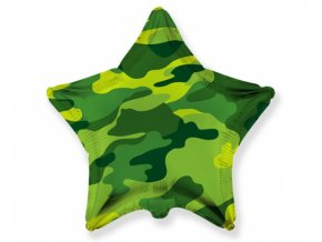 Foliový balonek hvězda Kamufláž 45 cm - Nebalený