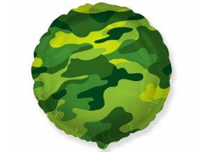 Foliový balonek kruh Kamufláž 45 cm - Nebalený