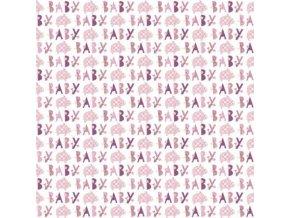 Balící papír Baby růžový slon - 76 x 152cm
