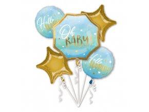 Sada foliových balonků Oh Baby - modrý - 5 ks