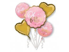 Sada foliových balonků Oh Baby - růžový - 5 ks