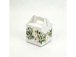 Svatební krabička na mandličky s bílými růžemi