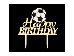 Zapichovací plastová dekorace Happy Birthday s fotbalovým míčem