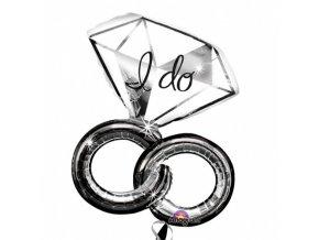Foliový balonek svatební prsteny diamond 69 x 76 cm