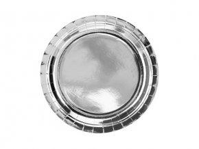 Papírové talíře metalické stříbrné 23 cm - 6 ks