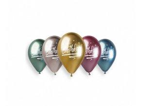Latexové chromové balonky Happy Birthday 33 cm - 5 ks