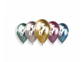Latexové chromové balonky Jednorožec 33 cm - 5 ks