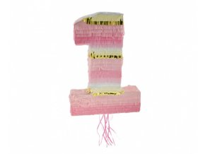 Piňata číslice 1 - růžová 50 x 35 x 7 cm