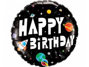 Foliový balonek Vesmír černý - Happy Birthday 45 cm