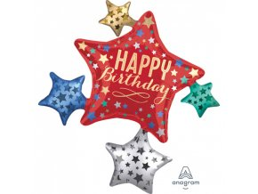 Foliový balonek multi - Hvězda Satin Birthday 81 x 88 cm