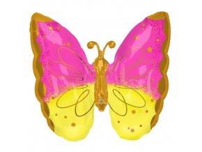 Foliový balonek motýl růžovo-žlutý 63 x 63 cm