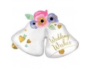 Foliový balonek svatební zvonky 83 cm