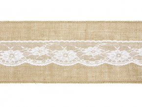 PartyDeco Dekorační pás juta s bílou krajkou (15 cm x 2,75 m)