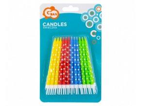 Dortové svíčky barevné s puntíky, 24 ks s držátky