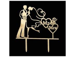 Zapichovací plastová dekorace zlatá Mr & Mrs se srdíčky