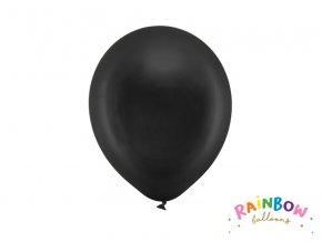PartyDeco balónky černé metalické 23 cm (10 ks)