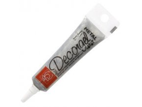 Decor gel metalický - stříbrný (Složení glukózový sirup, voda, cukr,modifikovaný škrob E1442, protispékavá látka E555, barvy: E171, E153, želírující karagenan E407, re)