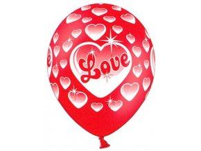 Červené balónky s potiskem 5 ks - bílá srdíčka