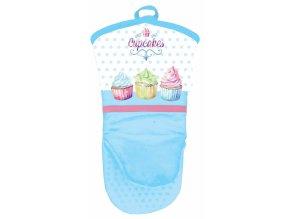 Chňapka - rukavice se silikonovou dlaní, Cupcakes modrá