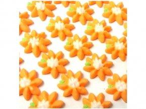 Cukrová dekorace - oranžové kytičky