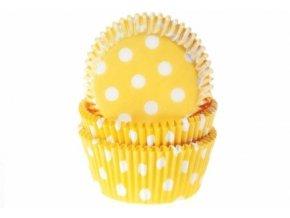 Košíčky na muffiny 50ks žluté s puntíky - House of Marie
