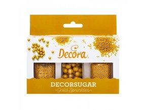 decora cukrove perlicky zlate 3ks 85g