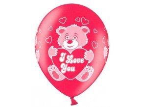 Červené balónky s potiskem 5 ks - zamilovaný méďa