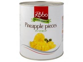 1658 ananas v mirne sladkem nalevu kousky 3 kg plechovka