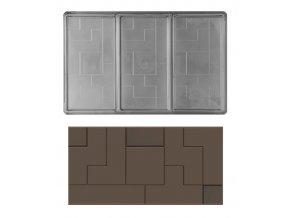14813 forma na cokoladovou tabulku 100g obdelnik 1x3 tabulky forma