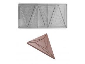 14852 forma na cokoladovou tabulku 25g trojuhelnik 1x4 tvary forma