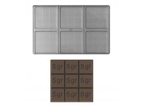 14894 forma na cokoladovou tabulku 45g ctverec 2x3 tabulky forma