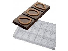 14906 forma na cokoladovou tabulku 50g fave del cacao 3x6 tvary forma