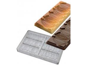 14912 forma na cokoladovou tabulku 50g kakaovy bob 3x2 tvary forma