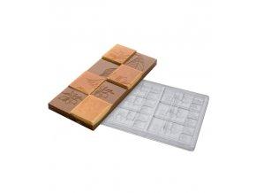 14918 forma na cokoladovou tabulku 50g kvety a listy 3x2 tvary forma