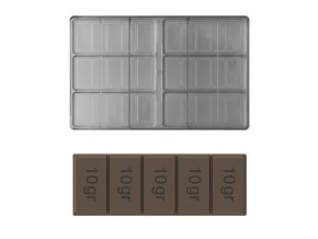 14924 forma na cokoladovou tabulku 50g tycinka 2x3 tabulky forma