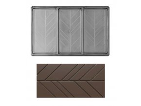 14954 forma na cokoladovou tabulku 80 100g obdelnik 1x3 tabulky forma