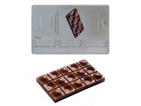 14963 forma na cokoladovou tabulku 80g obdelnik s vystupky a dolicky 3 tvary forma