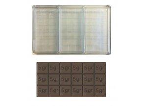 14972 forma na cokoladovou tabulku 90g obdelnik 1x3 tabulky forma