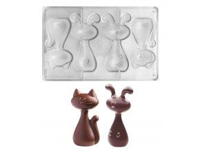 15128 forma na cokoladu parovaci 3d kocka a zajic 80g 1x4 tvary forma