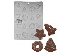 15203 forma na cokoladu pe vanocni motivy 4x4 tvary forma