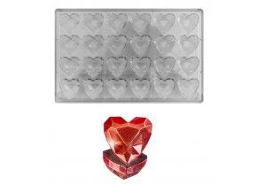 15425 forma na pralinky diamantove srdce 10g 6x4 tvary forma