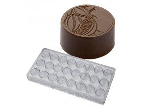 15551 forma na pralinky kakaovy bob 9g 3x8 tvaru forma