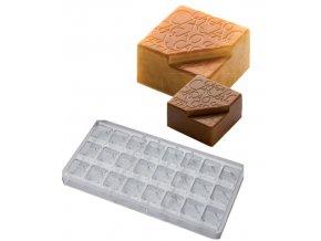 16100 forma na pralinky textura kakao 9g 3x8 tvaru forma